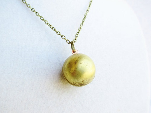brass ball locket necklace