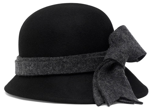 Heathered Bow Black Cloche