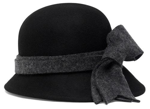 Heathered Bow Black Cloche