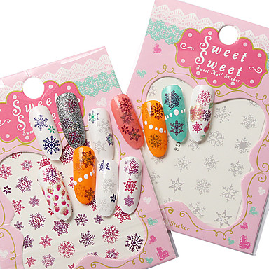 3 Piece Lot Nail Snow Series Watermark Stickers