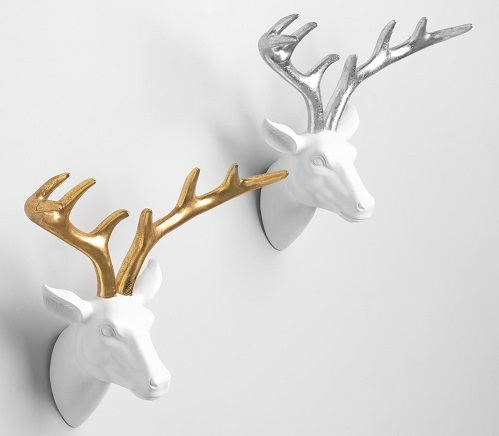 Stag Heads with Metallic Antlers