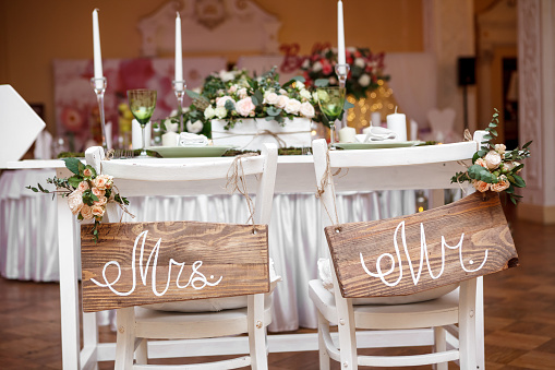 Mr. and Mrs. Sign on the chair