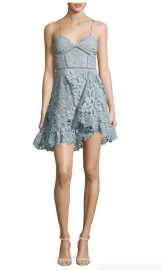 blue floral lace cami dress