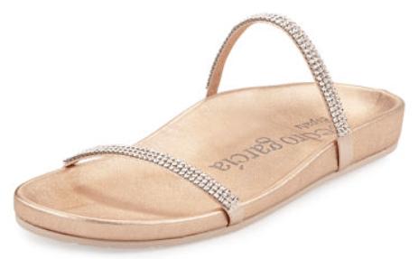 Neiman Marcus Pedro Garcia Amanda Crystal Flat Slide Sandal