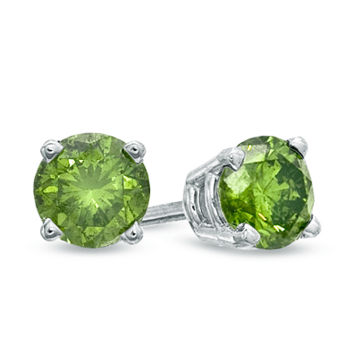 Zales Green Diamond Solitare Earrings