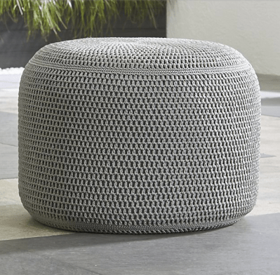 Gray Outdoor Pouf