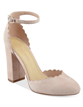 suede blush block heel pumps