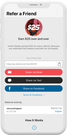 Ebates app Refer A Friend