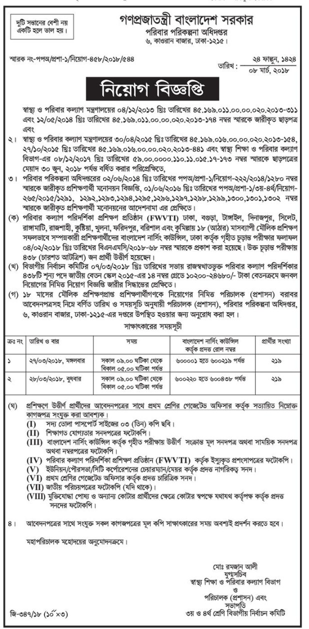 Directorate General Of Family Planning DGFP Job Circular 2018