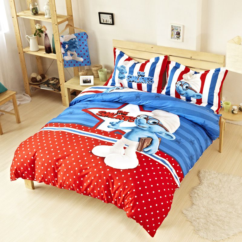 Kids Smurfs Bedding Set Twin Queen King Size Ebeddingsets