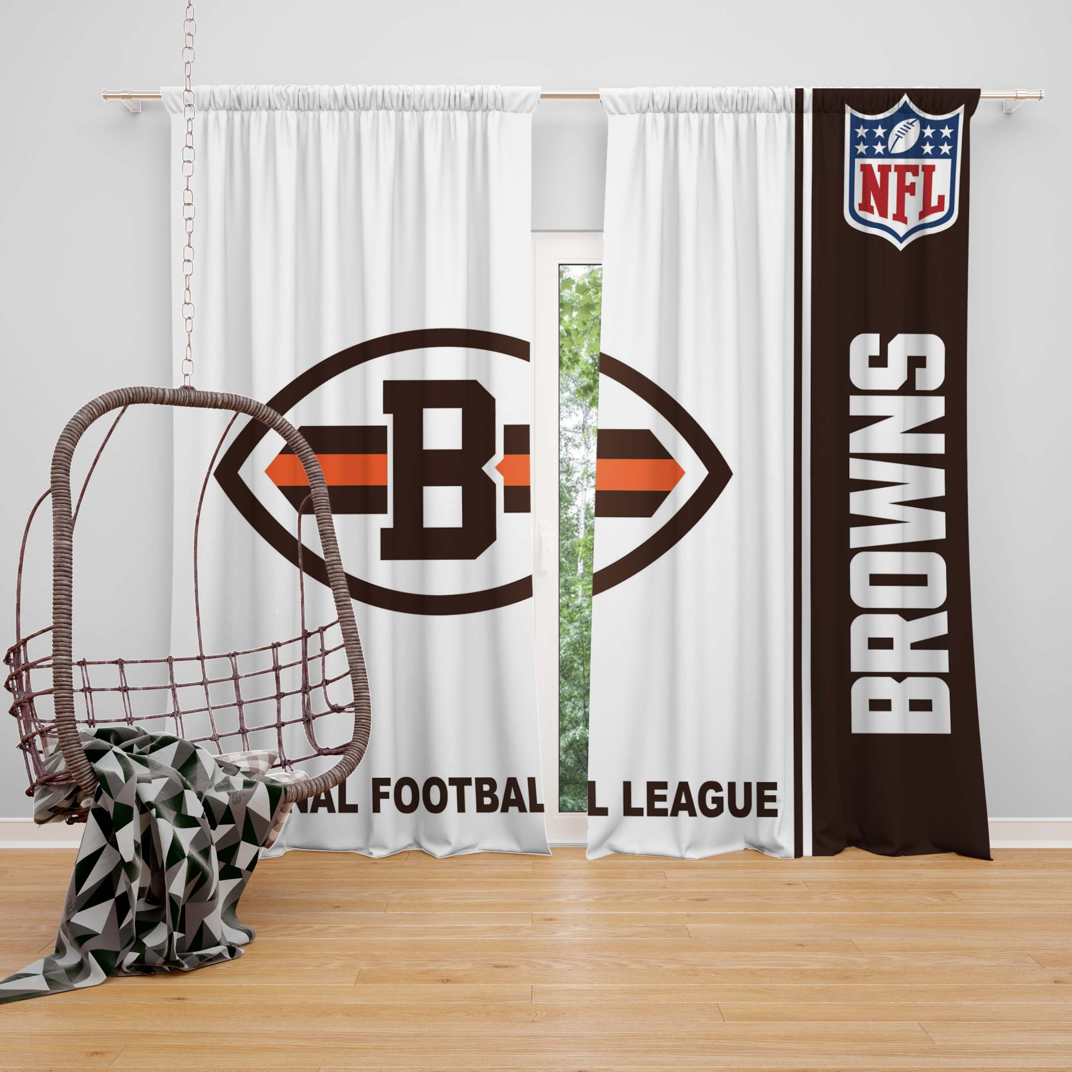 Nfl Cleveland Browns Bedroom Curtain