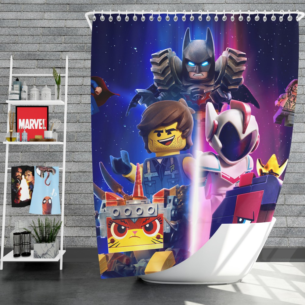 the lego movie 2 the second part movie aquaman batman superman shower curtain