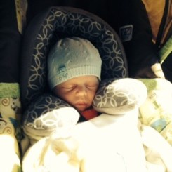 In his carseat