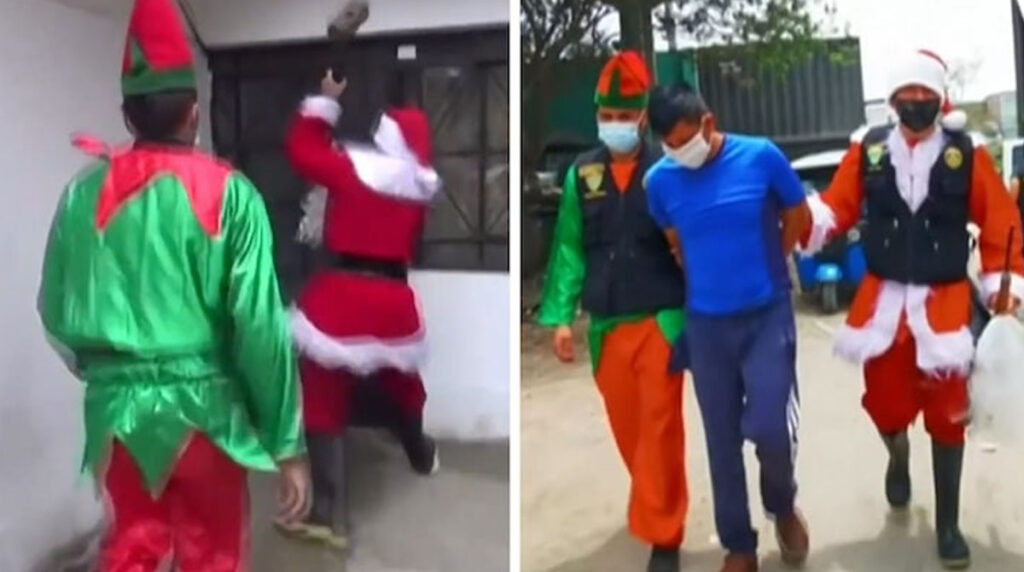 Moment-two-undercover-police-officers-dressed-as-Santa-Claus-and-Elf-make-drug-bust-to-arrest-an-alleged-trafficker