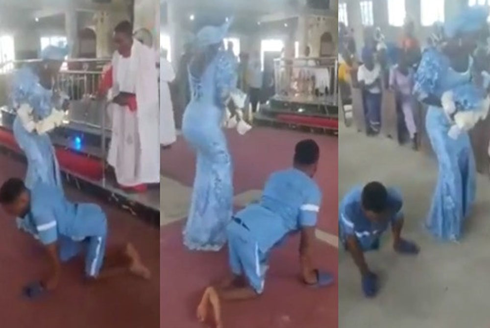 Loud cheers as a physically challenged man dances to the alter with his wife to dedicate their newborn baby in a church in Delta (Video)