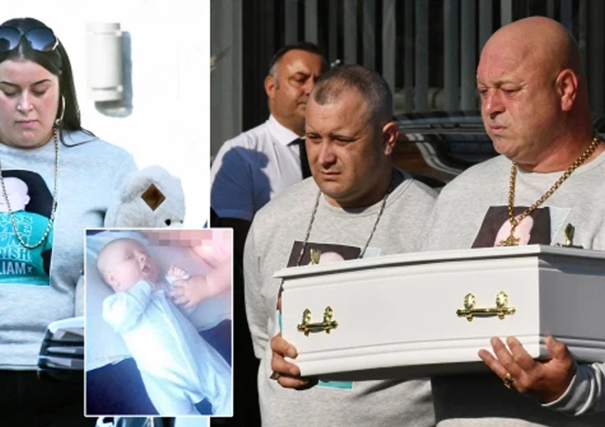 Weeping dad cries as he holds coffin of two months old son murdered by wife