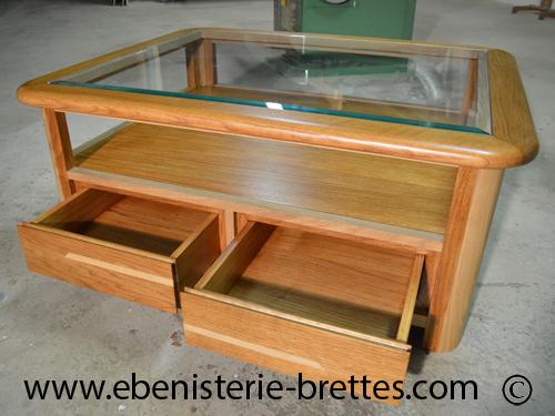 table bois chene clair verre