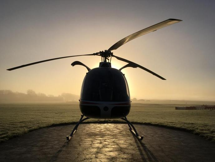 Cabri G2 in the early morning sun from EBG Helicopters.