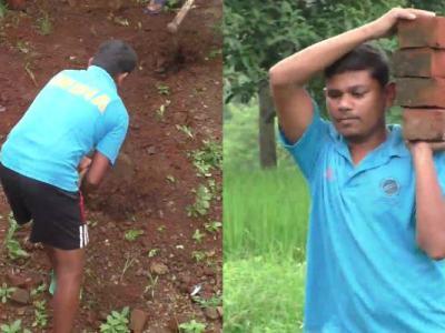 भारत के नेत्रहीन क्रिकेट विश्व कप विजेता नरेश तुम्दा मजदूरी करने के लिए मजदूरी का काम करते हैं