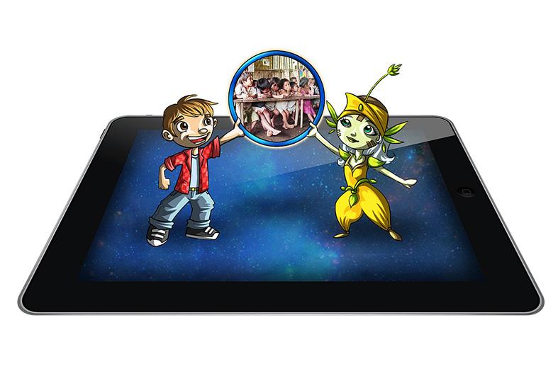 Tablet Con Personajes Y Foto De Chicos