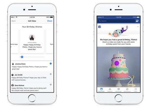 Facebook lanzó videos de cumpleaños