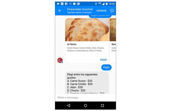 Gourmet tiene su robot para encargar empanadas desde Facebook