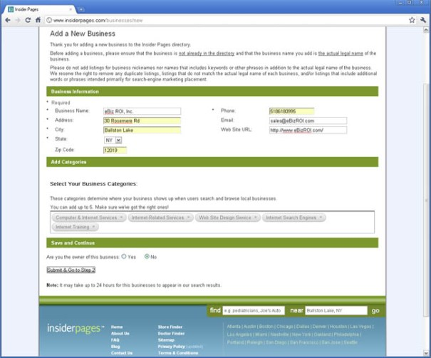 insiderpages.com - add your business information