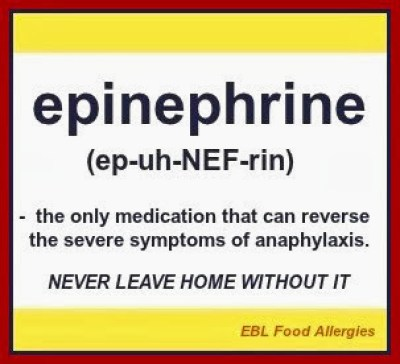 EBL Food Allergies - Great quote to raise awareness of epinephrine!