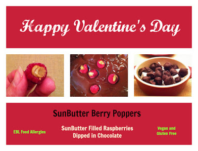 Surprise your Valentine with a simple SunButter filled raspberry that is dipped in chocolate.  Vegan and Gluten Free