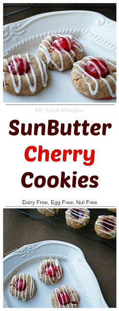 SunButter Cherry Cookies, Vegan, Nut Free, and Gluten Free