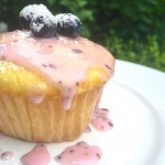 Vegan Lemon Muffins with Blueberry Icing - dairy, egg and nut free