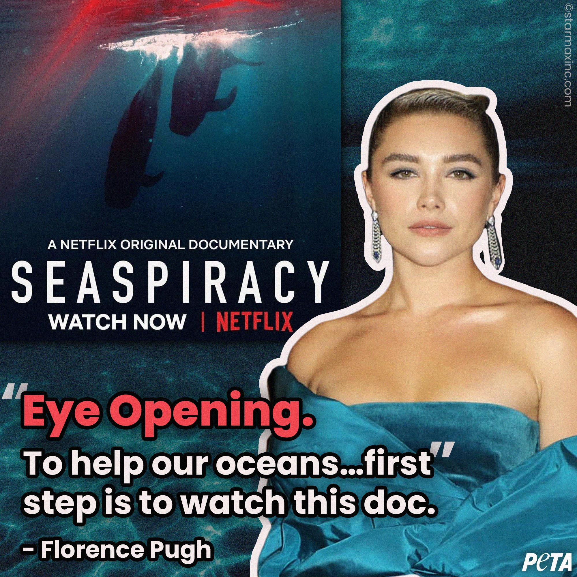 A great message from Midsommar actor, Florence Pugh and we couldn't agree more 👏 If you care about our planet, ocean, sea life, or your health go watch Seaspiracy NOW on Netflix like the Little Women star recommends
