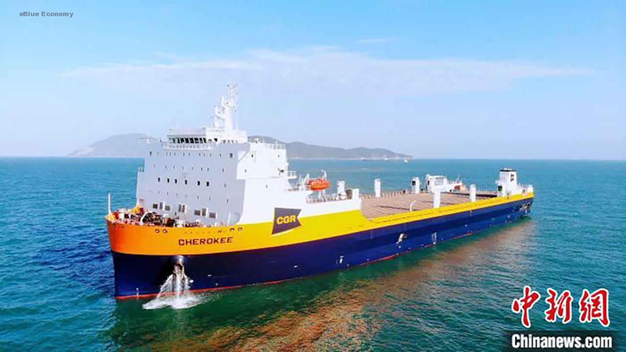 eBlue_economy_الصين تسلم مشترياً أمريكاً أكبر سفينة لنقل القطارات في العالم