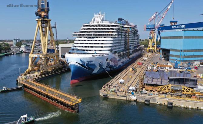 eBlue_economy_Norwegian Cruise Line's new ship Norwegian Prima floats out from her drydock at Fincantieri shipyard
