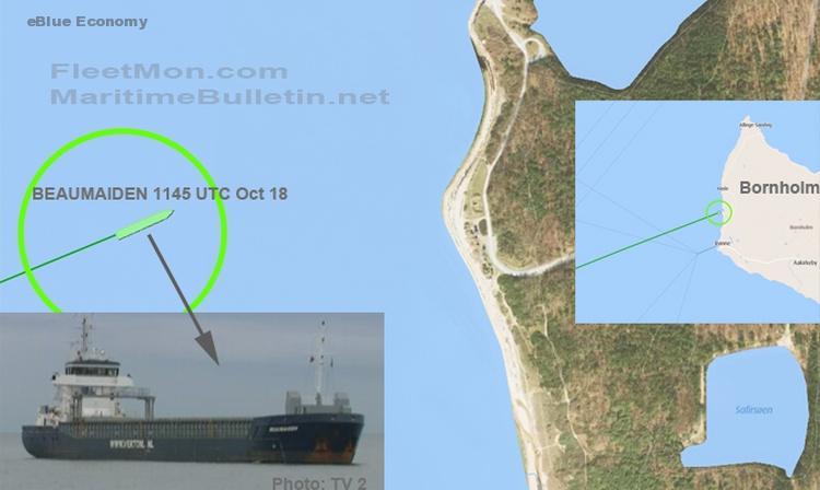 eBloue_economy_Dutch freighter sailed straight onto Bornholm coast, Baltic sea