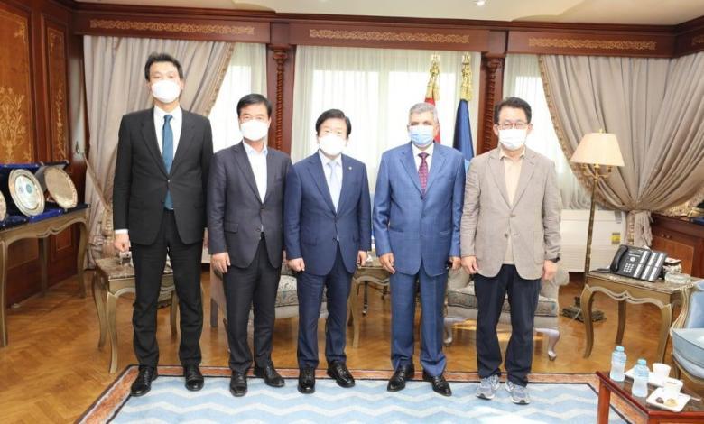 eBlue_economy_لفريق أسامة ربيع يستقبل رئيس الجمعية الوطنية الكوري والسفير الكوري بالقاهرة لبحث سبل التعاون المشترك