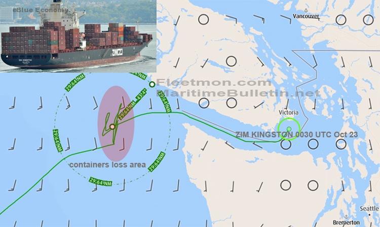 eBlue_economy_ZIM container ship lost dozen containers off Vancouver