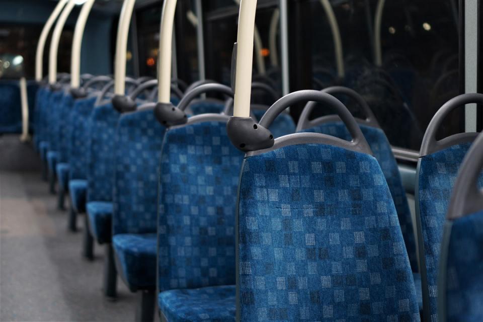 inside a charter bus