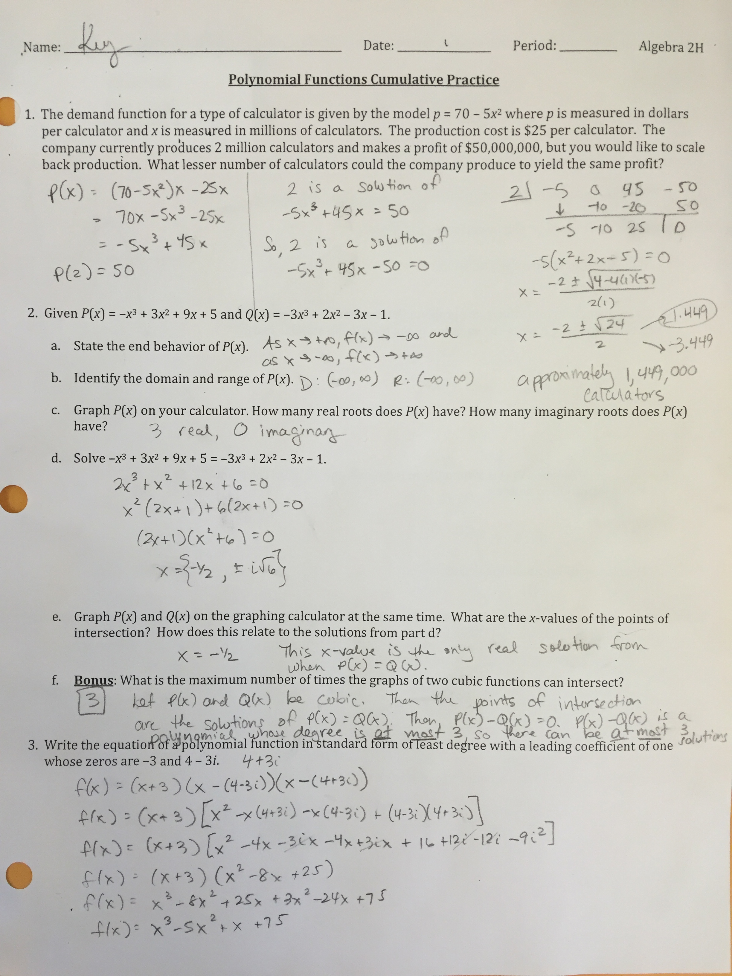 Finding Real Roots Of Polynomial Equations Practice B