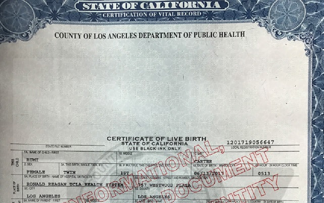 Rumi And Sir Carters Birth Certificates Released Older