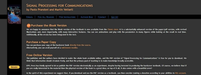 Signal Processing for Communications by Paolo Prandoni and Martin Vetterli