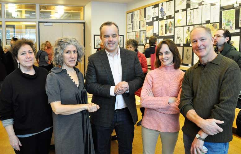 Craig Hudon, director of programming, center, flanked by art specialists Marla Lipkin, Elise Engler, Sara Wolfe and Larry Dobens.