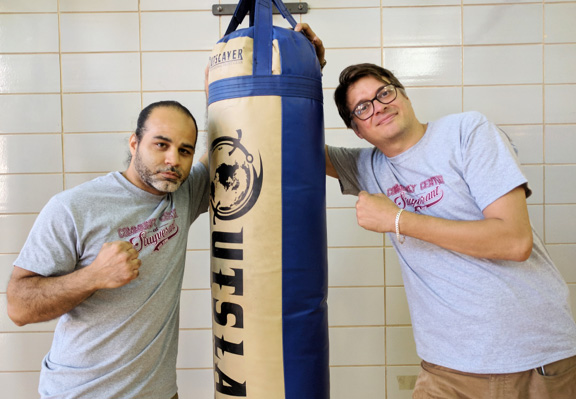 Paul Diaz-Larui, foreman at the Community Center at Stuyvesant High School, and on the right is Peter Campbell, CCSHS supervisor.