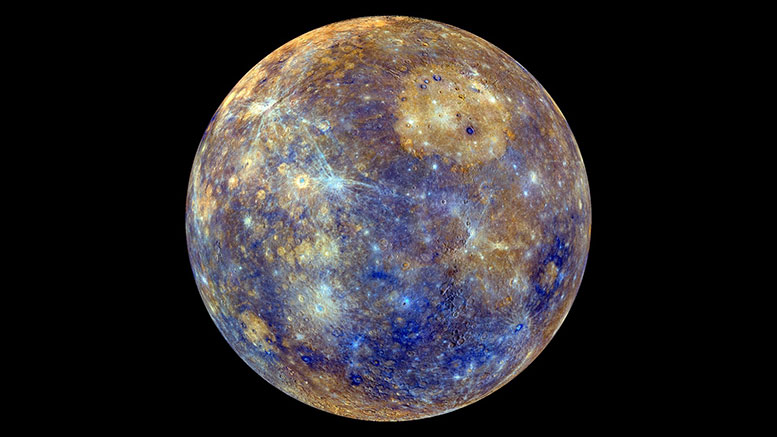 This colorful view of Mercury was produced by using images from the color base map imaging campaign during MESSENGER's primary mission. These colors are not what Mercury would look like to the human eye, but rather the colors enhance the chemical, mineralogical, and physical differences between the rocks that make up Mercury's surface. Image credit: MESSENGER - NASA, CARNEGIE SCIENCE, JOHNS HOPKINS