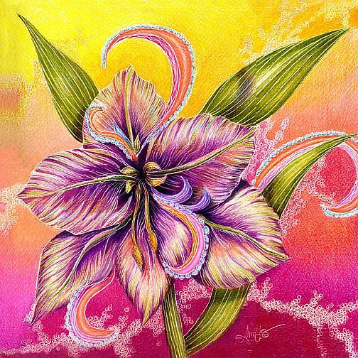 "Member's Choice Winner ""Paisley Amaryllis"" by Alma Lee"