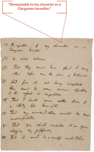 Darwin's handwritten list of objections