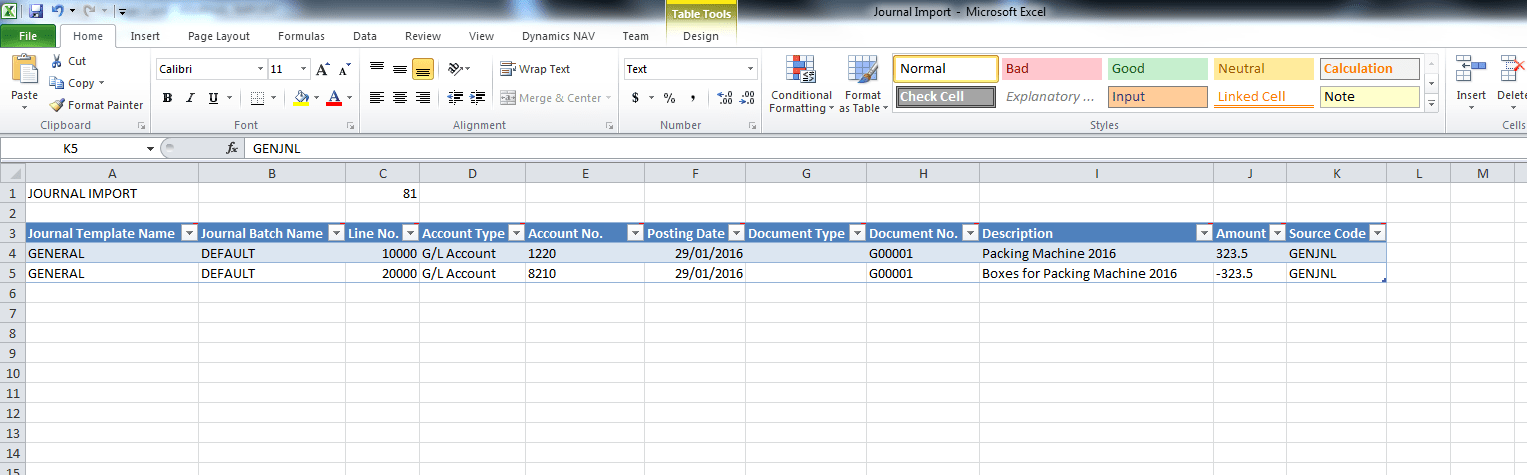Excel journals and Microsoft Dynamics NAV Image 4