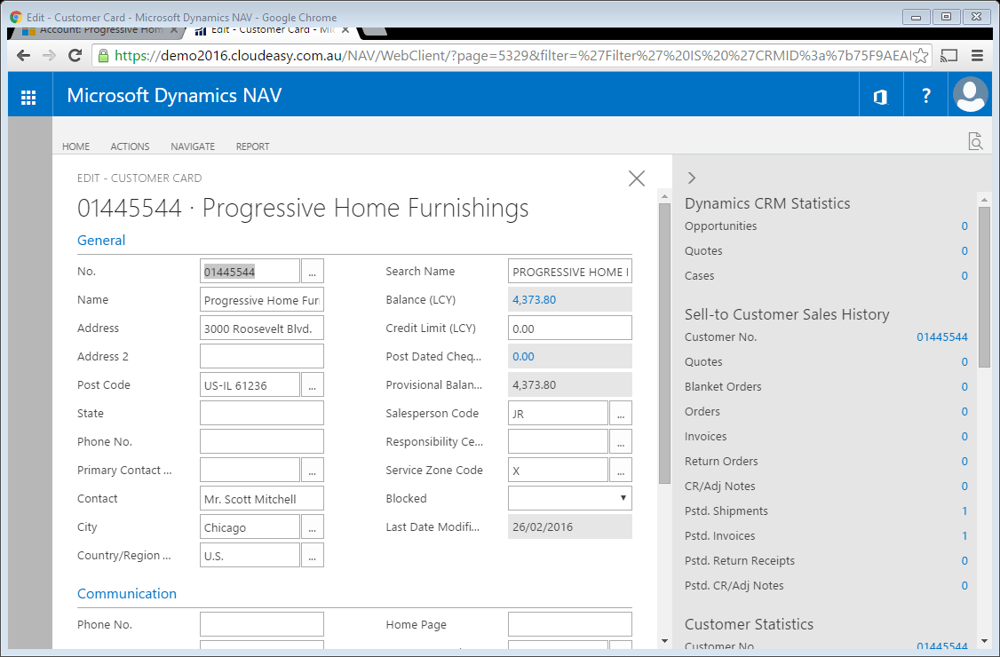 Microsoft Dynamics NAV 2016 native in CRM im28