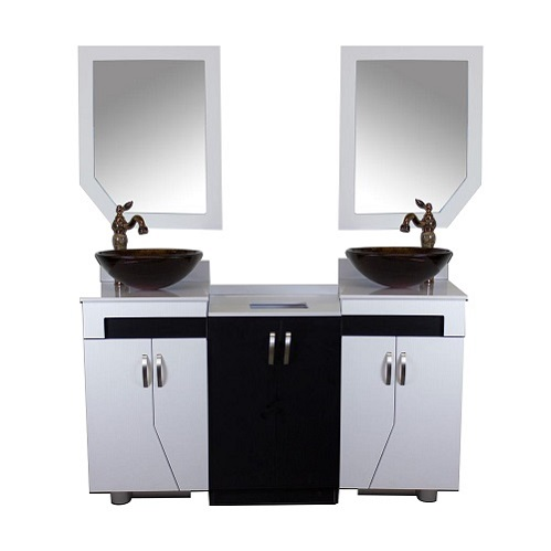 shaker double sink with mirror
