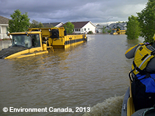 Photo of a street in Alberta during the floods of 2013